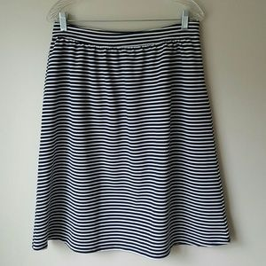 DownEast Navy and White Stripe Skirt-Medium